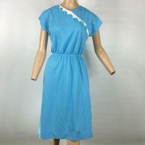 LESLIE FAY| 1970's Baby Blue Short Sleeve Dress
